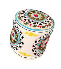 Designer Round White Indian Ottoman Cotton Floral