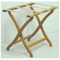 Designer Solid Oak Luggage Rack with Tapestry Webbing