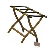 Designer Solid Oak Luggage Rack CURVED X in Light Oak/Tan -