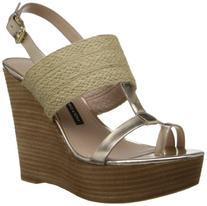 French Connection Women's Desiree Wedge Sandal,Gold/Natural,