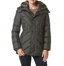 London Fog® Diagonal Seaming Coat With Faux Fur Hood