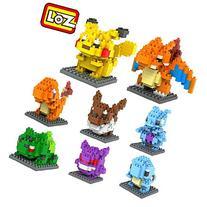 LOZ 8box Diamond Block Pokemon Pikachu Squirtle Bulbasaur