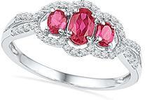 0.16CTW DIAMOND 0.77CTW LAB CREATED RUBY RING
