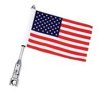 Diamond Plate Motorcycle Flagpole Mount and USA Flag