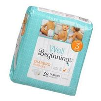 Well Beginnings Premium Diapers Jumbo, 3 36 ea