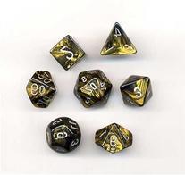 Chessex Dice: Polyhedral 7-Die Leaf Dice Set - Black Gold w/