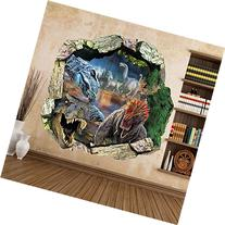 Zooarts® Dinosaur Cracked Wall Removable Vinyl Mural Art