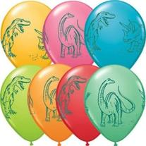 "11"" Dinosaurs In Action Festive Latex Balloons"
