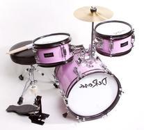 Children's Pink 3 Piece 12 Inch Kids Junior Drum Set with
