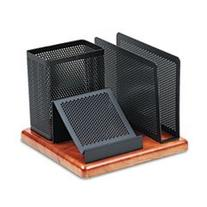 -- Distinctions Desk Organizer, Metal/Wood, 5 7/8 x 5 7/8 x