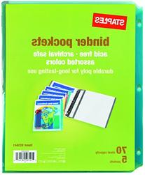 Staples Divider Pockets, 3-Hole Punched, 5 Set, Assorted