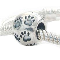 Dog Round Paw Print Authentic 925 Sterling Silver Bead Fits