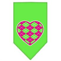 Dog Supplies Argyle Heart Pink Screen Print Bandana Lime