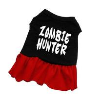 Dog Supplies Zombie Hunter Screen Print Dress Black With Red