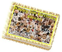 Dogs Personalized Edible Cake Topper Image -- 1/4 Sheet