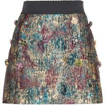 Dolce & Gabbana Embellished Metallic Mini Skirt