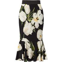Dolce & Gabbana Tulip-print stretch-silk skirt