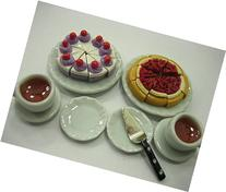 Dollhouse Miniatures Food Mixed Cake Ceramic Plate Dish