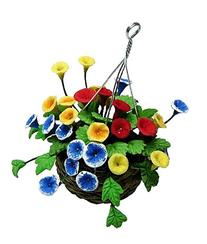 Dollhouse Miniature Multicolor Petunia Hanging Basket by