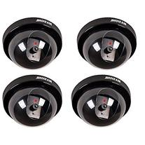 4x Dome Black Blinking Red LED Indoor/Outdoor Security Fake