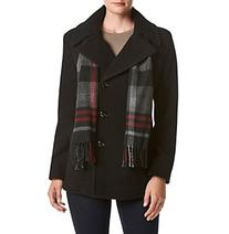 London Fog® Double Breasted Notch Collar Coat With Scarf