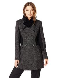 Jessica Simpson Women's Double Breasted Wool Coat with Faux