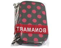 BONAMART ® Double Layer Cosmetic Bag Black with Pink Dot