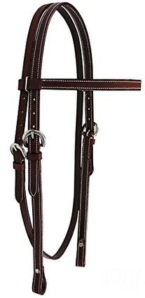 Tahoe Double Stitched Leather Browband Headstall for Daily