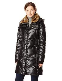 French Connection Women's Down Coat with Faux Fur Collar,