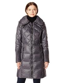 BCBGeneration Women's Down Coat with Hood, Gunmetal, Large