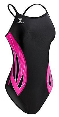 TYR Phoenix Splice Diamondfit Swimsuit, Black/Pink, 22