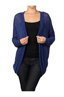 2LUV Women's Draped Open Front Cocoon Knit Cardigan Royal