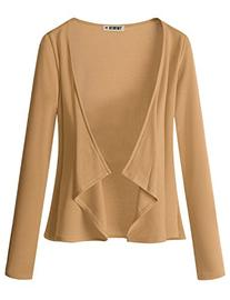 Doublju Jersey Knit Draped Open Front Cardigan  BROWN 3XL