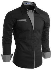 Doublju Mens Dress Shirt with Contrast Detail BLACK