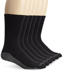 Dickies Men's 6 Pack Dri-Tech Comfort Crew Socks, Black/Grey