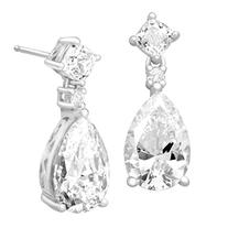 Drop Earrings with Swarovski Zirconia in Sterling Silver