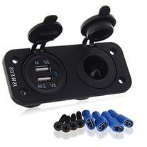 Dual Car Cigarette Lighter Socket Splitter 12V Charger USB