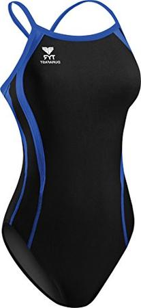 TYR Alliance Splice Diamondback Swimsuit, Black/Blue, 20