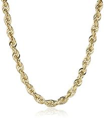 Men's 14k Yellow Gold Hollow Diamond-Cut Rope Chain Necklace