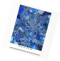 Durham Map Print, North Carolina, USA, City Street Art, Blue
