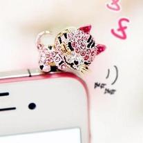 Dust Plug-earphone Jack Accessories Pink Crystal Cat with