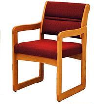 Wooden Mallet DW1-1MOCB Valley Guest Chair in Medium Oak - Cabernet Burgundy