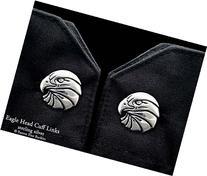 Eagle Head Cuff Links in Solid Sterling Silver Hand Carved