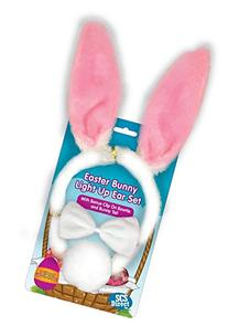 Easter Bunny Ears 3pc Light Up Rabbit Toy w Tail, Bowtie,