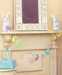3 Pc Easter Bunny Holding Garland Cut Out Rabbits Spring