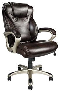 Realspace EC620 Executive High-Back Chair, Brown/Silver