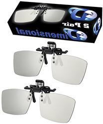 ED 2 Pack CINEMA Clip-On 3D GLASSES For LG 3D TVs - Adult