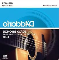 D'Addario EJ11x5  Acous Guit Strings, 80/20 Brnz Rnd Wnd,