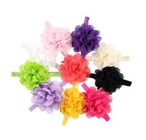 Qandsweet Baby Girl Elastic Headbands with Chiffon Flower