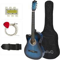Electric Acoustic Guitar Cutaway Design With Guitar Case,